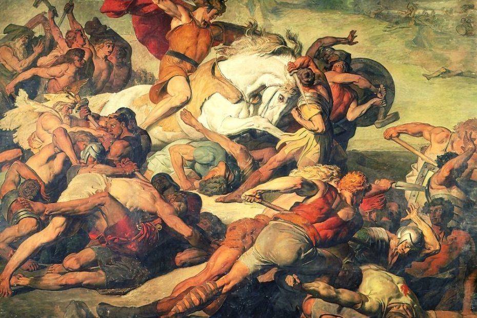 Es gibt viele typische deutsche Mythen. Hier als Beispiel: Arminius bzw. Hermann in der Varusschlacht.