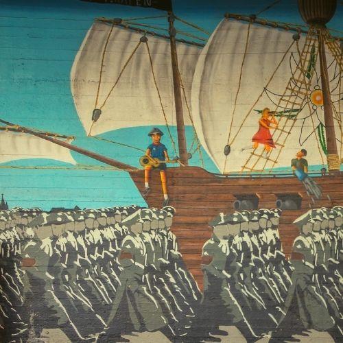 Die Edelweißpiraten und ihr Widerstand auf einem Wandgemälde. (c) Raimond Spekking / CC BY-SA 4.0 (via Wikimedia Commons)