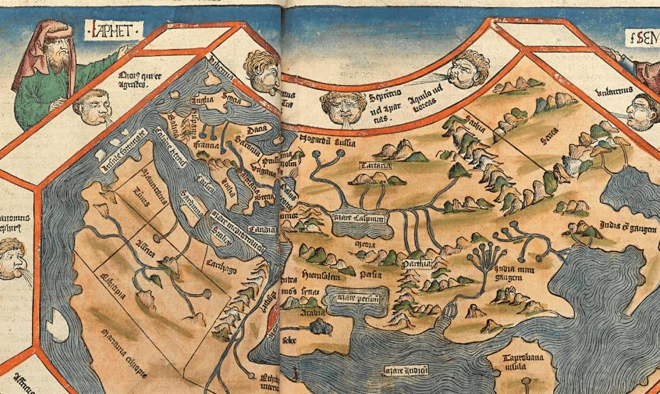 Eine Karte der Erdkugel in der Zeit Kolumbus