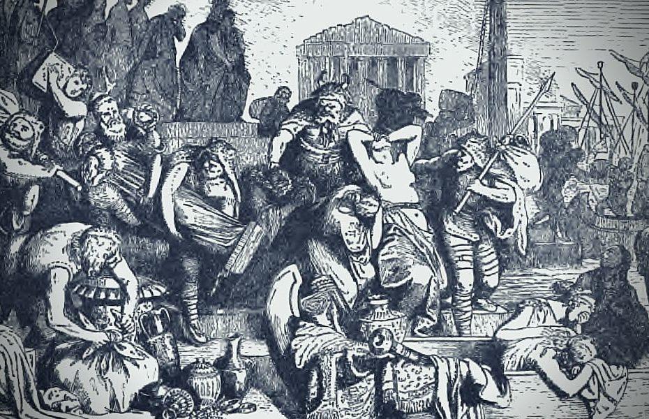 Die Völkerwanderung der Vandalen und Sueben. Hier die Plünderung Roms