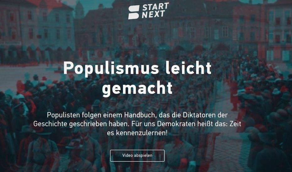 Screenshot vom Crowdfunding für Populismus leicht gemacht